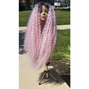 28 inch pink handmade wig